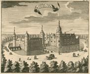 819 Gezicht op het kasteel Westhove te Oostkapelle, met voorbijgangers