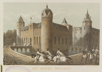 822 Gezicht op het kasteel Westhove te Oostkapelle, van de voorzijde, met ridders te paard