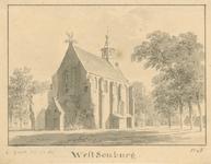 871 Gezicht op de Nederlandse Hervormde kerk te West-Souburg, met ooievaarsnest