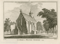 872 Gezicht op de Nederlandse Hervormde kerk te West-Souburg, met ooievaarsnest