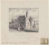 878 Gezicht op de voorgevel en linkerzijgevel van het kasteel Aldegonde te West-Souburg, met een roeiboot en een ...
