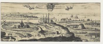 891 Gezicht op de heerlijkheid Welsinge te Ritthem, in vogelvlucht, vanuit het noordwesten en middenboven het wapen van ...