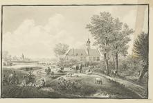 938 Gezicht op het jachthuis Ter Linde te Ritthem, met jagers op de voorgrond