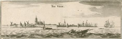 991 Gezicht op de stad Veere, vanuit zee, met een oorlogsschip en op de voorgrond vissers