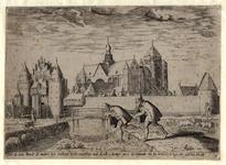 992 Gezicht op een deel van de stad Veere, met een herder en een vrouw met juk, op de voorgrond de parabel van de ...