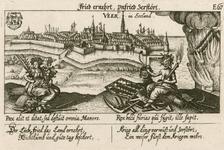 994 Gezicht op de stad Veere, vanuit zee, met op de voorgrond de goden Vrede en Mars (oorlog) met attributen, ...