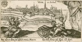995 Gezicht op de stad Veere, vanuit zee, met op de voorgrond de goden Vrede en Mars (oorlog) met attributen, ...