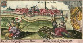 996 Gezicht op de stad Veere, vanuit zee, met op de voorgrond de goden Vrede en Mars (oorlog) met attributen, ...