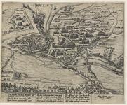 100 Kaart van de verovering van de stad Hulst door de Spanjaarden, met 3 x 4 versregels (Duits) onder