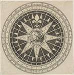 1046-2 Een kompasroos, in het midden een vrouw, leunend op anker, met vogel, onder Zeelandia en randschrift: 'God ...