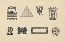 1048-5 Stalen van vignetten,aanwezig bij de firma U.F. Auer en Zoon, drukkers te Middelburg, afbeeldingen van de wapens ...
