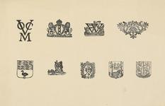 1048-7 Stalen van vignetten, aanwezig bij de firma U.F. Auer en Zoon, drukkers te Middelburg, het beeldmerk van de ...