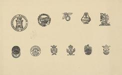 1048-9 Stalen van vignetten, aanwezig bij de firma U.F. Auer en Zoon, drukkers te Middelburg, zegels van de Nederduits ...