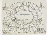 1049 Het Veers spel ganzenbord, met afbeelding van Veerse gebouwen en gezicht op de stad