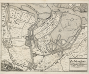 149 Kaart van beleg en verovering van Sas van Gent door prins Frederik Hendrik, met aanduiding van de werken en ...