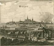 165 Beleg en verovering van Hulst door prins Frederik Hendrik, gezicht op de stad met de belegeringswerken