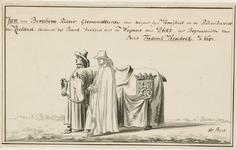 169 Jan van Berchem, gecommitteerde van de prins in de Rekenkamer van Zeeland, het paard leidend, bekleed met de wapens ...