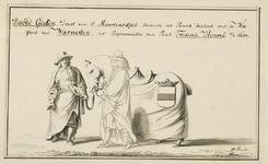 171 David Godin, drost van Sint Maartensdijk, het paard leidend, bekleed met de wapens van Warneton bij de begrafenis ...