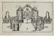 222d Inhuldiging van prins Willem IV als erfheer van Vlissingen, vuurwerk afgestoken op de Grote Markt. Onderschrift in ...