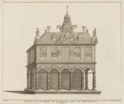 227-5 Gezicht op de beurs te Vlissingen met de versieringen, ter gelegenheid van het 200-jarig jubileum van de vrijheid ...