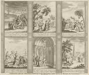 227-6 Afbeelding van de zes schilderingen in de vensterramen boven de Beurs te Vlissingen, ter gelegenheid van het ...