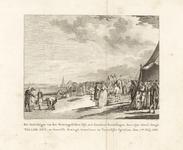 257 Bezichtiging van de Westkapelse dijk door prins Willem V en familie, met twee-regelig onderschrift