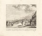 258 Bezichtiging van de Westkapelse dijk door prins Willem V en familie, met twee-regelig onderschrift