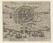 39 Plattegrond van de stad en haven van Middelburg, met strijdende troepen en Geuzenvloot vóór de haven, verkleind, ...