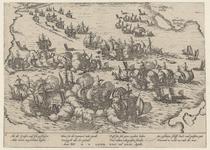 40 Zeeslag voor Vlissingen tusen de Spaanse en Geuzenvloten, met onder 4 x 2 versregels (Duits)