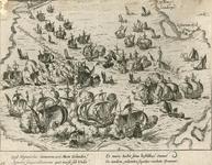 41 Zeeslag voor Vlissingen tussen de Spaanse en Geuzenvloten, met onder 2 x 2 versregels (Latijn) onder en op de ...