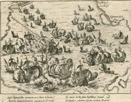 42 Zeeslag voor Vlissingen tusen de Spaanse en Geuzenvloten, met onder 2 x 2 versregels (Latijn) en op de achterzijde ...