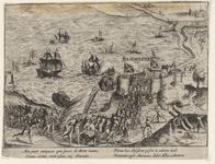 46 Verovering van het kasteel Rammekens door de Geuzen, met onder 2 x 2 versregels (Latijn) en op de achterzijde een ...