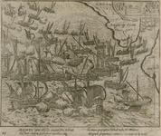 49 Slag voor Reimerswaal tussen de Spaanse en de Geuzenvloot, met onder 2 x 2 versregels (Latijn) en op de achterzijde ...