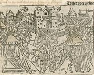 5 Het beleg van Zierikzee door de Vlamingen, met op de voorgrond hun tentenkamp, en op de achtergrond de muren van de stad