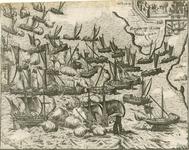50 Slag voor Reimerswaal tussen de Spaanse en de Geuzenvloot, met op de achterzijde een beschrijving (Nederlands)
