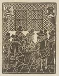 530 Een zitting van de Rekenkamer van Zeeland in de grote charterkamer in de Abdij te Middelburg, met de wapens van ...