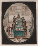 531 Ontwerp van een glasraam door Cornelis van Barlaer afbeeldende een zitting van de Rekenkamer van Zeeland. Met aan ...