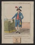535 Een lid van het Intermediair Uitvoerend Bewind in kostuum, staand aan tafel met papier, inktpot en ganzeveer, met ...