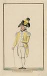 537 Een officier van de Vlissingse schutterij in uniform, met wandelstok, met 1-regelig onderschrift (handschrift)