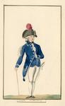 538 Een officier van de Veerse schutterij in uniform, met wandelstok, met 1-regelig onderschrift (handschrift)