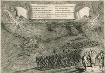 58 Tocht van de Spaanse troepen naar Schouwen en Duiveland door het Zijpe, op de voorgrond gezegend door een priester, ...