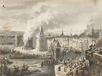 6 Het beleg van de stad Zierikzee door de Vlamingen, met brandende belegeringstoren en op de achtergrond schepen en een molen