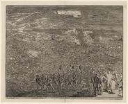 60 Tocht van de Spaanse troepen naar Schouwen en Duiveland door het Zijpe, op de voorgrond gezegend door een priester, ...