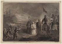 61 Tocht van de Spaanse troepen naar Schouwen en Duiveland door het Zijpe, op de voorgrond gezegend door een priester