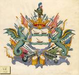639 Het alliantiewapen (in spiegelbeeld) van de families Oostdijck en Tradel, met helm en pauw, engel, geflankeerd door ...