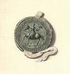685 Het zegel van graaf Willem I van Holland (1203-1222) te paard met een valk op de handschoen en onder een hond ...
