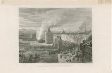 7 Het beleg van de stad Zierikzee door de Vlamingen, met brandende belegeringstoren en op de achtergrond schepen en een molen