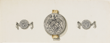 718 Het zegel van Adolf van Bourgondië, heer van Veere en Vlissingen, geflankeerd door de penning (voorzijde, ...