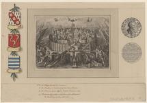 73 Zinneprent op het sluiten van de Pacificatie van Gent, de maagden (met wapens) van de 17 provinciën in de tuin, ...