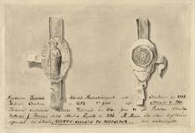 753 Het zegel en contra-zegel van abt Henricus (1307-1316) van de O.L.V. Abdij te Middelburg, met onderschrift ...